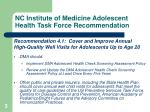 nc institute of medicine adolescent health task force recommendation