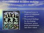 governmental decision making researching pesticides herbicides and pet waste1