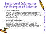 background information for examples of behavior