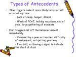types of antecedents