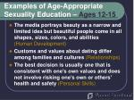 examples of age appropriate sexuality education ages 12 15