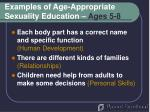 examples of age appropriate sexuality education ages 5 8
