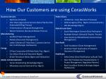 how our customers are using corasworks