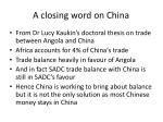 a closing word on china