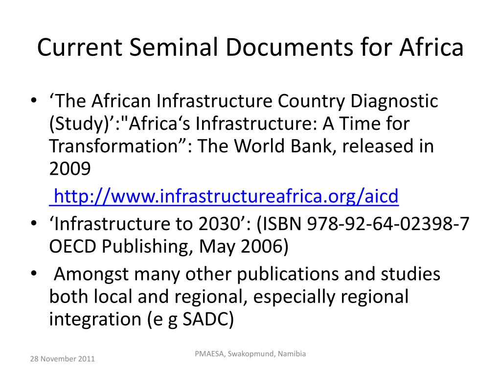 Current Seminal Documents for Africa