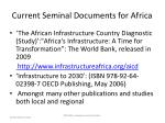 current seminal documents for africa22