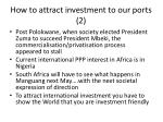 how to attract investment to our ports 2