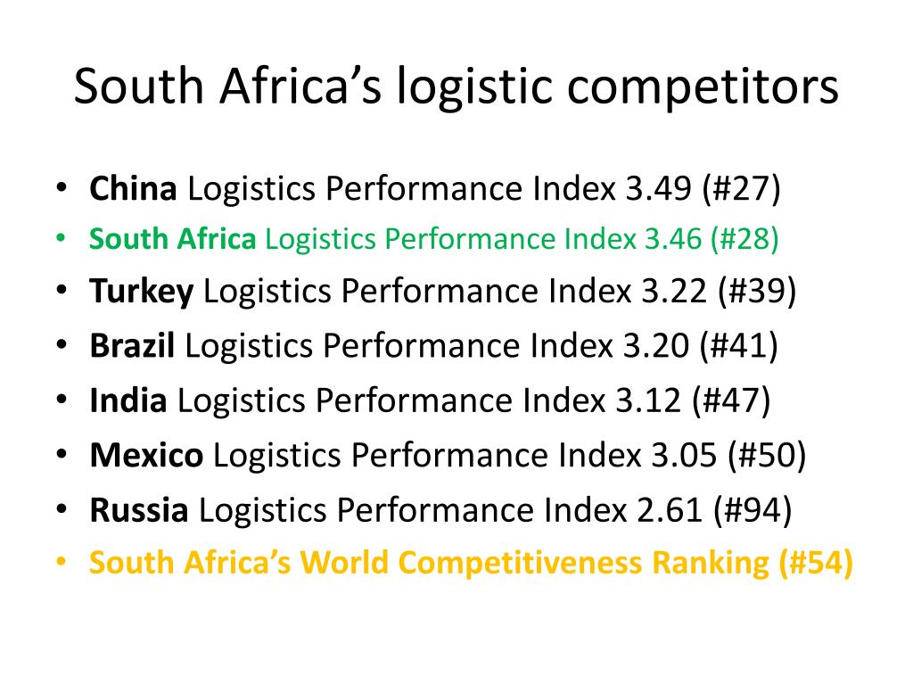 South Africa's logistic competitors