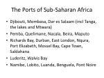 the ports of sub saharan africa