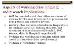 aspects of working class language and research implications