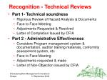 recognition technical reviews