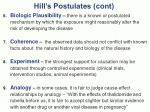 hill s postulates cont