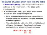 measures of association from the 2x2 table1