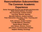 reaccreditation subcommittee the common academic experience