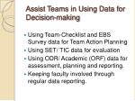 assist teams in using data for decision making