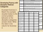 developing fluency with discipline referral categories