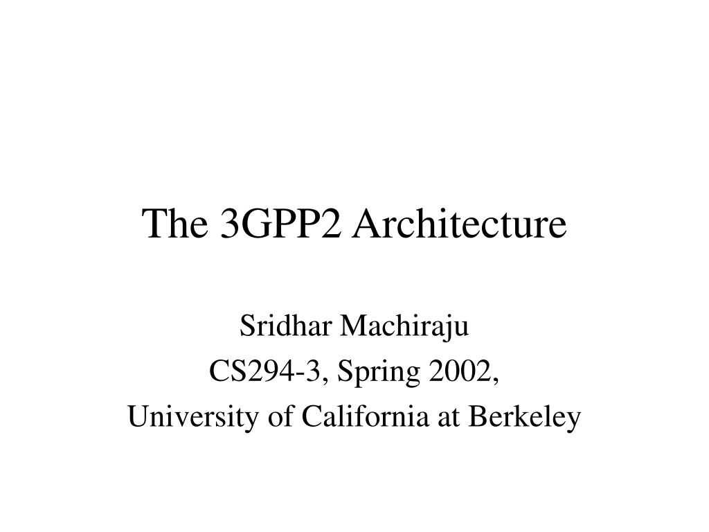 the 3gpp2 architecture l.