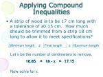 applying compound inequalities