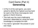 card game part 4 generating