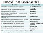 choose that essential skill1