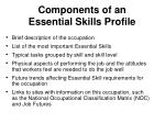 components of an essential skills profile
