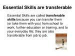 essential skills are transferable