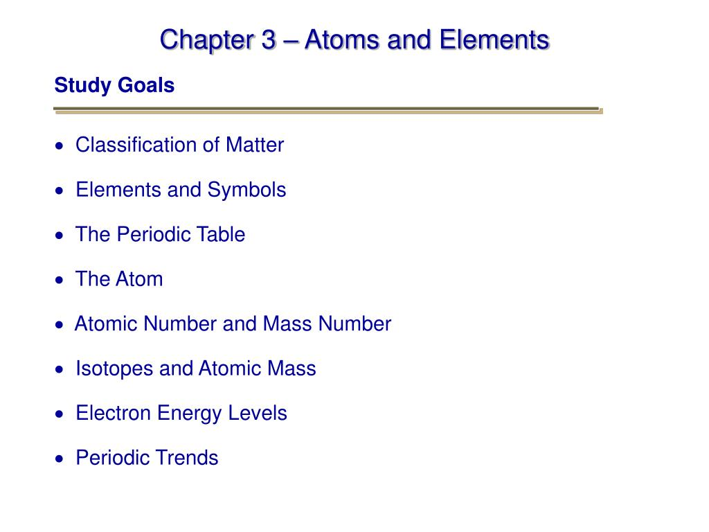 chapter 3 atoms and elements l.