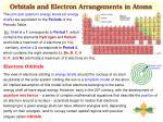 orbitals and electron arrangements in atoms