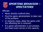 sporting behavior spectators