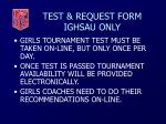 test request form ighsau only