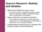 guerry s research stability and variation