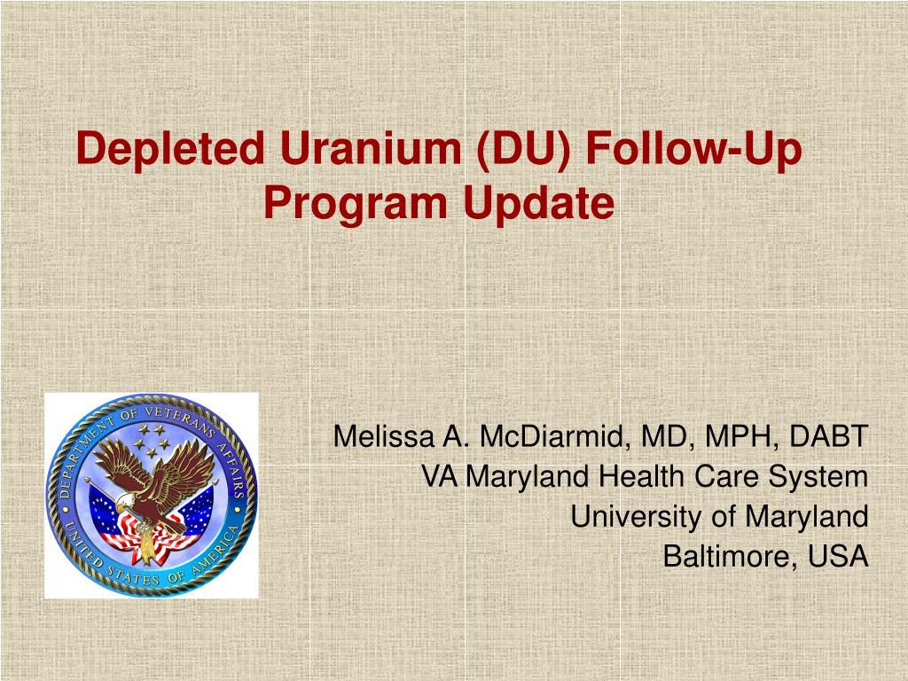 depleted uranium du follow up program update l.