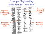 example segmenting handwritten characters