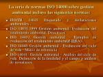 la serie de normas iso 14000 sobre gesti n ambiental incluye las siguientes normas15