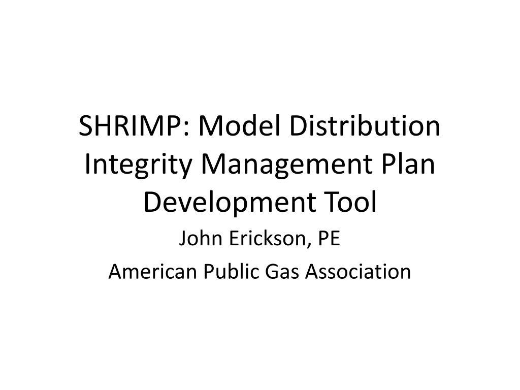 shrimp model distribution integrity management plan development tool l.