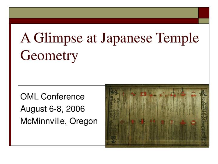 A glimpse at japanese temple geometry