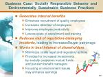 business case socially responsible behavior and environmentally sustainable business practices