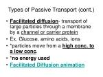 types of passive transport cont