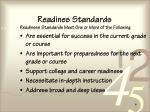 readines standards