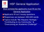 hsf general application