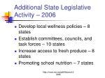 additional state legislative activity 2006