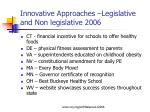 innovative approaches legislative and non legislative 2006