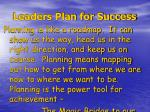 leaders plan for success