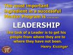 the most important ingredient in a successful mentor program is