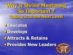 why is shrine mentoring so important taking it to the next level