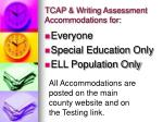 tcap writing assessment accommodations for