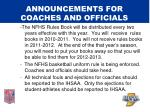 announcements for coaches and officials