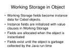 working storage in object35