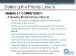 defining the priority levers