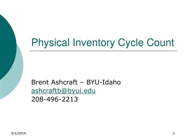 physical inventory cycle count n.